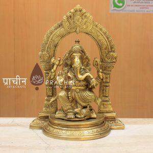 Brass Ganesha Sitting With Arch
