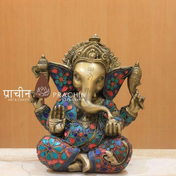 Ganesha Sitting With Stone Work